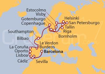 Itinerario Crucero La Realeza y Las Artes