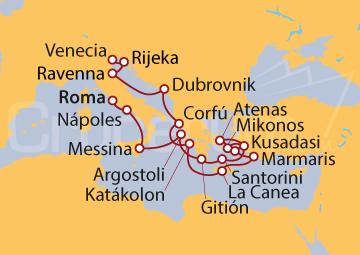 Itinerario Crucero Expedición por el Sur de Europa