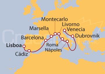 Itinerario Crucero De Iberia a Italia