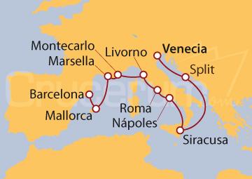 Itinerario Crucero La Paleta del Mediterráneo