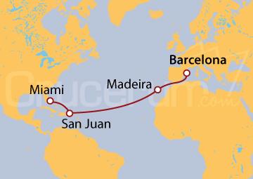 Itinerario Crucero De Barcelona a Miami
