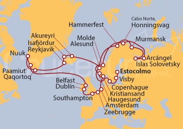 Itinerario Crucero Gran Círculo del Norte