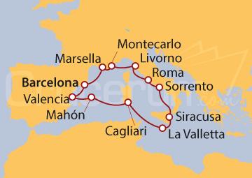 Itinerario Crucero Mediterráneo Prestigioso