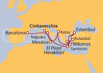 Itinerario Crucero Odisea: de Roma a Barcelona