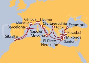 Itinerario Crucero Odisea por el Mediterráneo