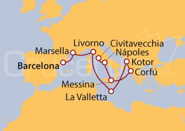 Itinerario Crucero El encanto del Mediterráneo