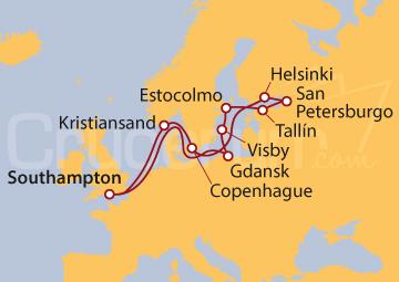 Itinerario Crucero Báltico desde Southampton