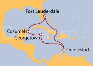 Itinerario Crucero Islas Caimán, México y Aruba