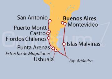Itinerario Crucero Antártida y La Patagonia