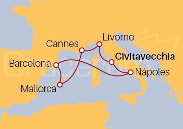 Itinerario Crucero Mediterráneo Occidental desde Roma