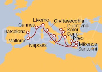 Itinerario Crucero Islas griegas y Adriático desde Italia