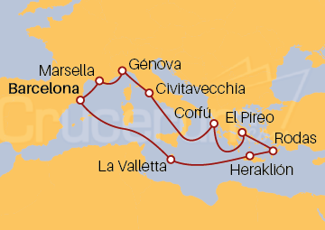 Itinerario Crucero Mediterráneo e Islas Griegas