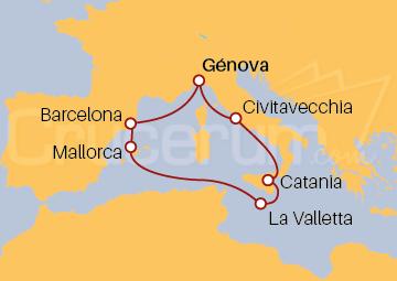 Itinerario Crucero Italia, España, Islas Baleares y Malta