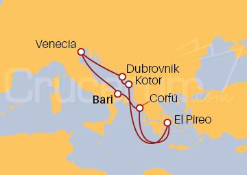 Itinerario Crucero Italia, Grecia, Montenegro y Croacia