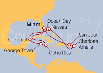 Itinerario Crucero Caribe Sur y Oriental