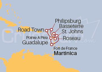 Itinerario Crucero Islas Vírgenes y Antillas