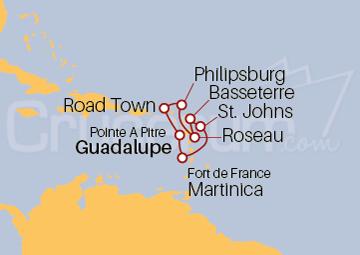 Itinerario Crucero Islas Vírgenes y Antillas desde Guadalupe