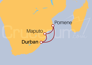 Itinerario Crucero Sudáfrica y Mozambique