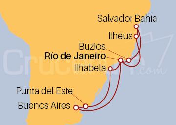Itinerario Crucero Brasil, Uruguay y Argentina
