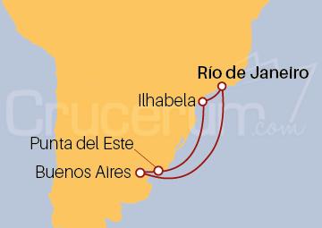 Itinerario Crucero Navidad por Brasil, Uruguay y Argentina