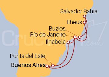 Itinerario Crucero Argentina, Brasil y Uruguay