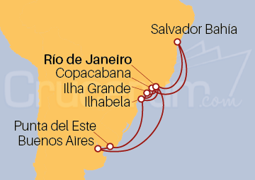 Itinerario Crucero Brasil, Uruguay, Argentina