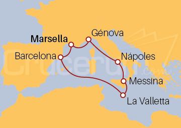 Itinerario Crucero Francia, Italia, Malta y España