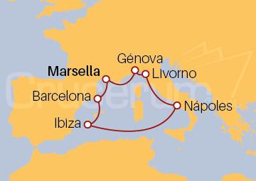 Itinerario Crucero Francia, España y Italia