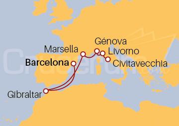 Itinerario Crucero De Barcelona a Roma