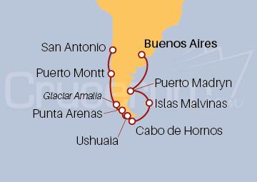 Itinerario Crucero Estrecho de Magallanes