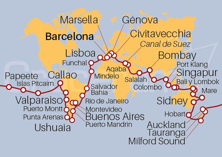 Itinerario Crucero Vuelta al Mundo 2022