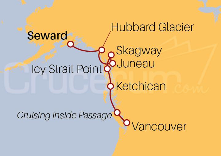 Itinerario Crucero Alaska desde Seward