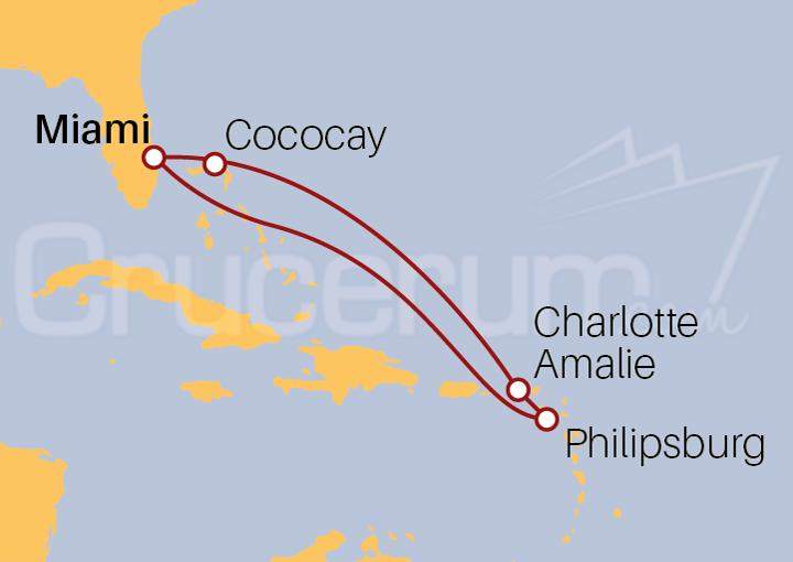 Itinerario Crucero Desde Miami a Islas Vírgenes