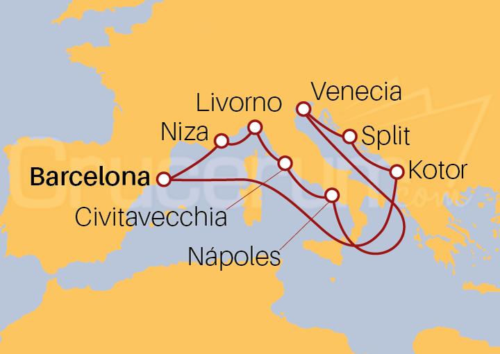 Itinerario Crucero Mediterráneo y Adriático