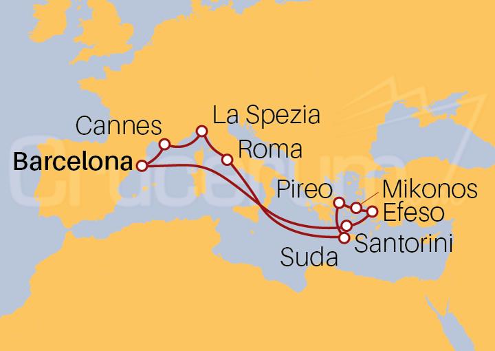 Itinerario Crucero Mediterráneo completo