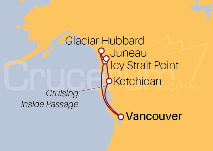 Itinerario Crucero Alaska con Glaciar Hubbard