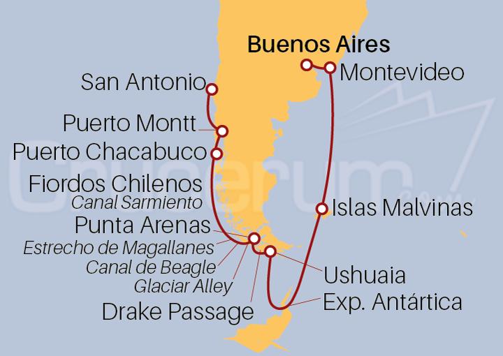 Itinerario Crucero Sudamérica y Antártida