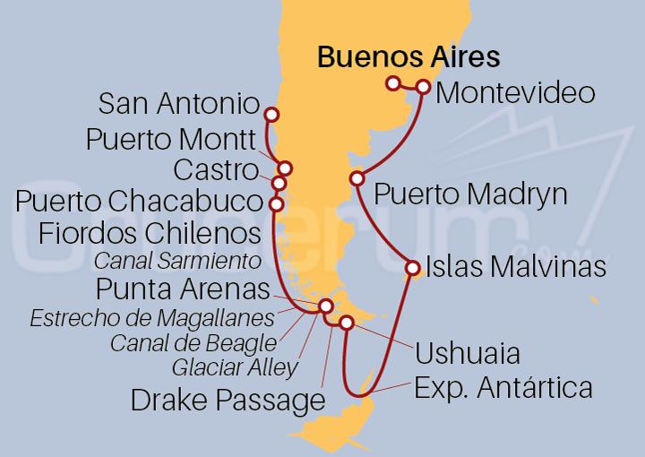 Itinerario Crucero Vacaciones por Sudamérica y la Antártida