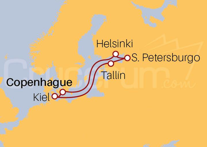 Itinerario Crucero Fiordos Noruegos y Capitales Bálticas