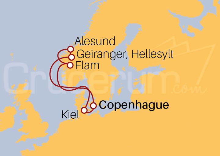 Itinerario Crucero Dinamarca, Noruega y Alemania