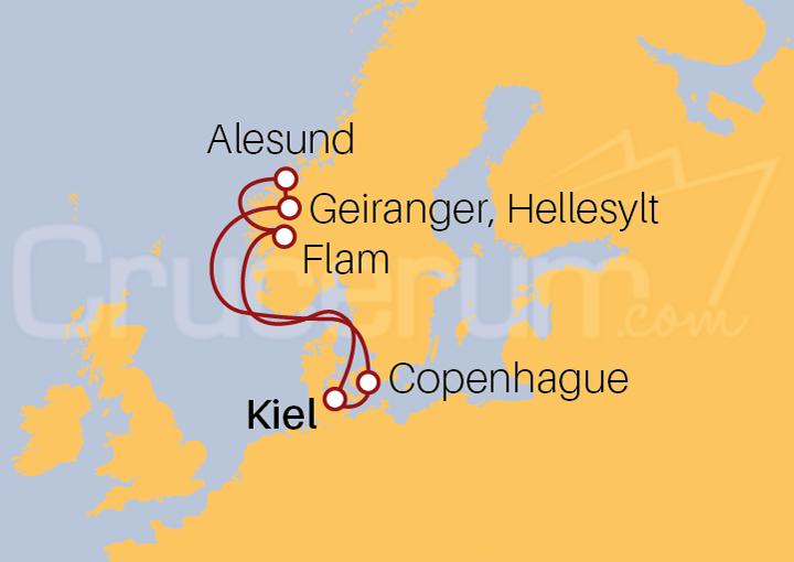 Itinerario Crucero Fiordos Noruegos desde Kiel
