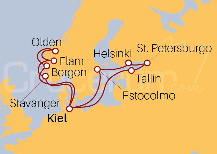 Itinerario Crucero Capitales Bálticas y Fiordos Noruegos