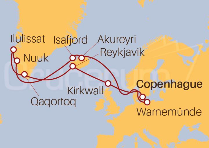 Itinerario Crucero Islandia y Groenlandia desde Copenhague