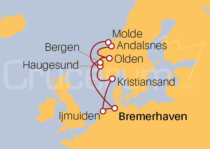 Itinerario Crucero Fiordos Noruegos