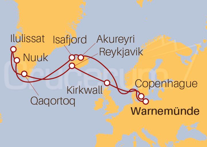 Itinerario Crucero Islandia y Groenlandia desde Warnemünde