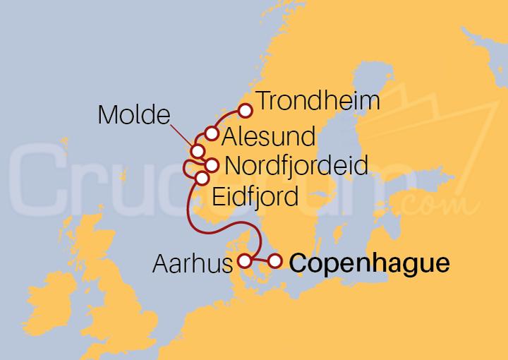 Itinerario Crucero Fiordos del Norte