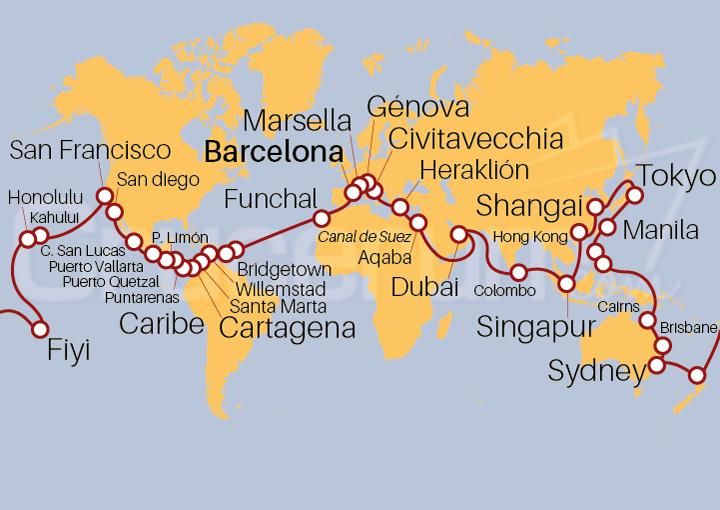 Itinerario Crucero Vuelta al Mundo 2021, embarque en Barcelona