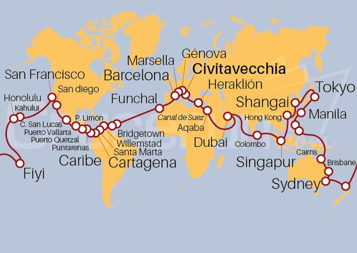 Itinerario Crucero Vuelta al Mundo 2021, embarque desde Civitavecchia