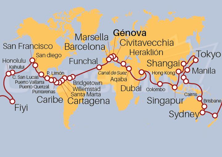 Itinerario Crucero Vuelta al Mundo 2021, embarque desde Génova