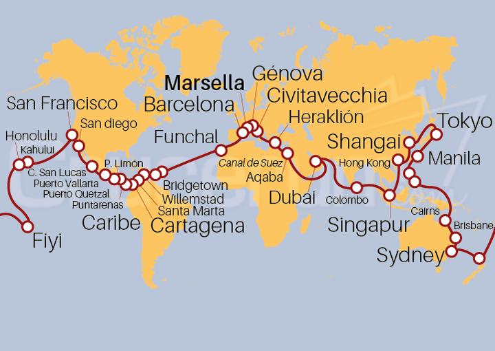 Itinerario Crucero Vuelta al Mundo 2021, embarque desde Marsella